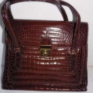 sac vintage croco marron