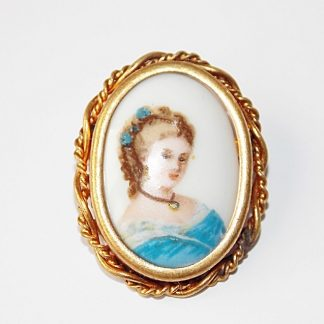 broche vintage en porcelaine de Limoges France