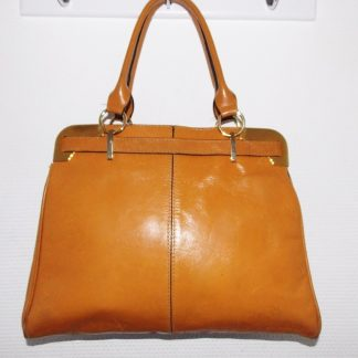 sac cuir vintage moutarde