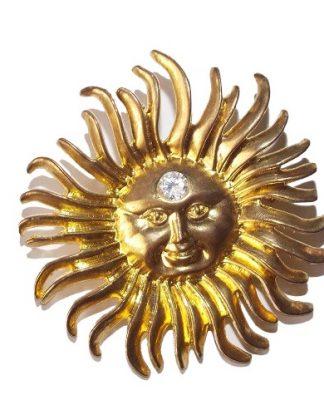 broche vintage soleil