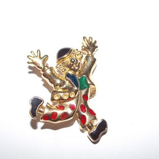 broche vintage clown métal doré