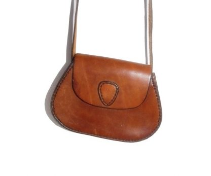 mini sac vintage en cuir naturel