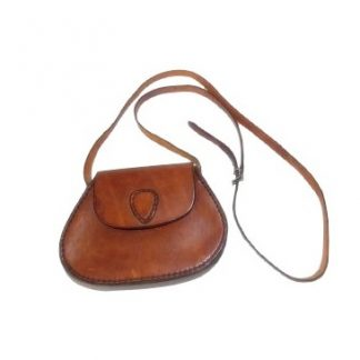 mini sac vintage en cuir naturel