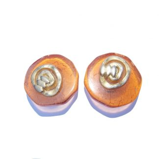 boucles d'oreilles clip vintage orange